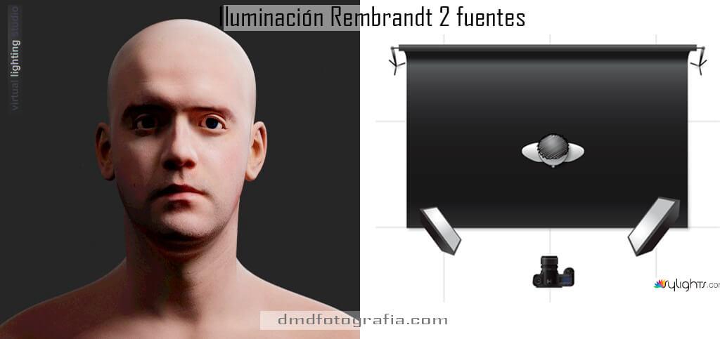 iluminacion rembrandt 2 fuentes dmdfotografia